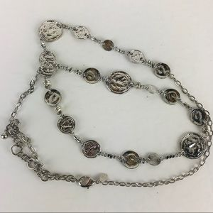 Chicos hammered metal medallion necklace